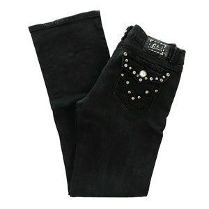 LA Idol Jeweled Black Book Cut Jeans